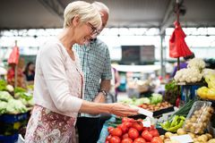 Picture of mature woman at marketplace buying vegetables. Picture of senior happy women at marketplace buying vegetables and fruits stock images