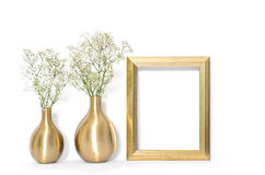 Picture mock up with golden frame and flowers minimal Royalty Free Stock Images