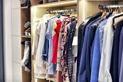 Moder walk-in closet at home. Picture of modern walk-in closet royalty free stock photo