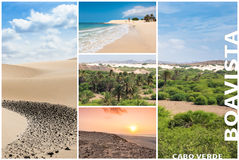 Picture montage of Boavista island landscapes  in Cape Verde arc Royalty Free Stock Image