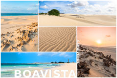 Picture montage of Boavista island landscapes  in Cape Verde arc Royalty Free Stock Photography