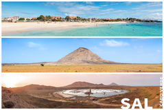 Picture montage of Sal island landscapes  in Cape Verde archipel Royalty Free Stock Photography