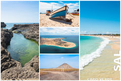 Picture montage of Sal island landscapes  in Cape Verde archipel Stock Photo