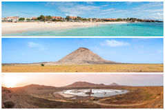 Picture montage of Sal island landscapes  in Cape Verde archipel Royalty Free Stock Photo