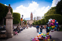Picture of Morelia´s downtown, sunshine and blue sky Royalty Free Stock Photo