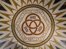 Mosaic in the abbey of Dormition Church of the Cenacle, saying royalty free stock photo