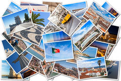 Picture Mosaic collage of  Lisbon city in Portugal Royalty Free Stock Photo