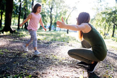 Picture of mother and child with special needs royalty free stock images
