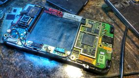 Picture of motherboard for htc phone. Photo while maintaining the phone Royalty Free Stock Image