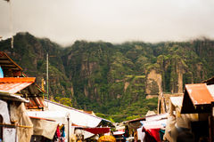 Picture of Mountain landscape and Tepoztlan Market in Morelos ri Stock Photography