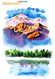 Picture of mountains and lakes royalty free illustration
