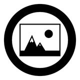 Picture of mountains and Sun icon the black color icon  in circle or round. Picture of mountains and Sun the black color icon  in circle or round vector Stock Photos