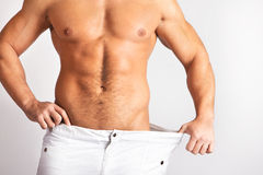 Picture of muscular males body. Muscular male body isolated on natural background Stock Image