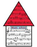 Picture Music School. House music school with a note fictional entry in the vector stock illustration