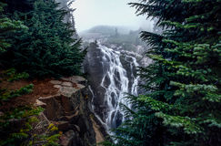 Myrtle Falls. This is the picture of Myrtle fallas in a foggy day at Mt Rainier National Park, Seattle, Washington Stock Photos