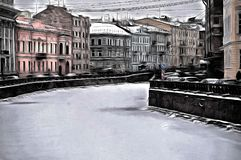 A picture of mystique Saint-Petersburg canal and street. A stylized in mystique style of the view of the canals and streets of Saint-Petersburg Royalty Free Stock Photo
