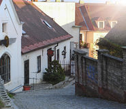 Picture of narrow street in Praha Royalty Free Stock Images
