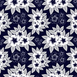 Seamless navy blue pattern with white flowers Royalty Free Stock Photos