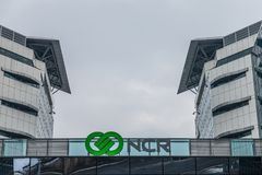 CR Corporation logo on their main office for Serbia. NCR is one of the leading companies in IT Support. Picture of the NCR Corporation sign on their headquarters Royalty Free Stock Photos