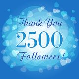 Thank you 2500 followers card or banner. Picture for networks friends, likes sign and shares of thanks. Holiday blue numbers, isolated tag hearts symbol Stock Photos