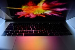 Mac Book Pro 15 Zoll Touch Bar. Picture from the new Mac Book Pro Stock Images