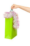 Picture of new year shopping bag Royalty Free Stock Photos