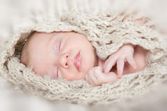 Picture of a newborn baby sleeping on a blanket Stock Photography