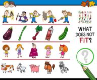 Picture not fit in a row cartoon game. Cartoon Illustration of Finding Picture that does not Fit with the Rest in a Row Educational Game with People and Animal Stock Images