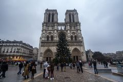 Notre Dame de Paris Cathedral during a cloudy afternoon with the traditional Christmas tree in front. Picture of Notre Dame de Paris cathedral in winter with Royalty Free Stock Image