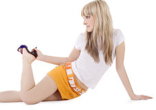 Picture Of Lovely Blonde Over White Royalty Free Stock Image