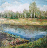 Picture oil paints on a canvas: spring landscape. Russia Stock Image