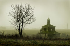 Picture of a old church. In fog Stock Photos