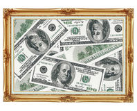 Picture in the old golden frame - money - dollars Royalty Free Stock Images