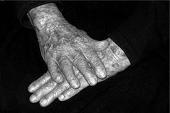 Old hands in black and white. Picture of Old hands in black and white royalty free stock photos