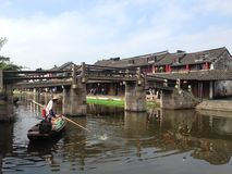 Picture of an old town in Zhejiang, China. An old small town called Xitang in Zhejiang, China. The main riverway in the town. Old traditional buildings along the Royalty Free Stock Photography