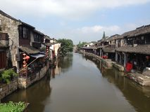 Picture of an old town in Zhejiang, China. An old small town called Xitang in Zhejiang, China. The main riverway in the town. Old traditional buildings along the Royalty Free Stock Photo