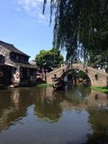 Picture of an old town in Zhejiang, China. An old small town called Xitang in Zhejiang, China. The main riverway in the town. Old traditional buildings along the Royalty Free Stock Images