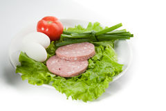 Picture of onion, eggs, ham, tomato Royalty Free Stock Image