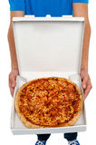 A picture of an  open pizza box. Royalty Free Stock Photos