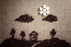Picture painted with coffee beans Stock Images