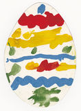 Picture of painted egg made by preschool child Stock Photo