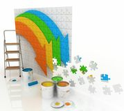 Picture with paints and step-ladder Stock Photography