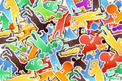 Picture of paper athletes. Illustration of a lot of paper silhouettes of athletes texture background Stock Photo