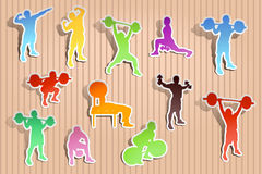 Picture of paper athletes. Illustration of paper set of athletes in different poses Stock Images