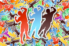 Picture of paper athletes. Illustration of texture of paper athletes on back and three big silhouettes in front Royalty Free Stock Photography