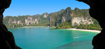 Picture of a paradise island, view from cave Stock Photo