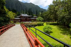 Byodo-in Buddhist temple in Oahu, Hawaii. This is a picture of the peaceful, tranquil Byodo-in Buddhist temple in Oahu, Hawaii. Including lake, gardens and Royalty Free Stock Photography