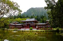 Byodo-in Buddhist temple in Oahu, Hawaii. This is a picture of the peaceful, tranquil Byodo-in Buddhist temple in Oahu, Hawaii. Including lake, gardens and Royalty Free Stock Image