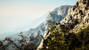 Profile Picture of a Peak within the Biokovo Mountains in Makarska, Croatia stock photo