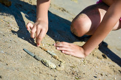 Picture from pebble on sand Royalty Free Stock Photos